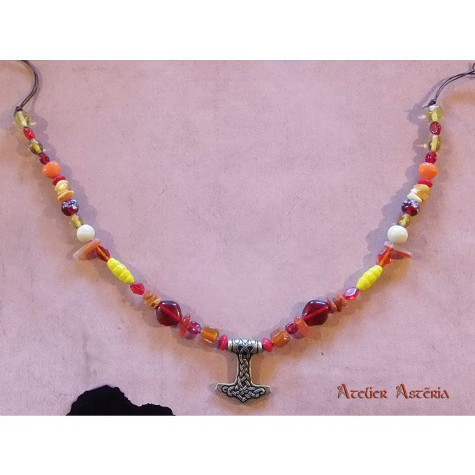 Atelier Astëria - collier viking simple rouge orange jaune